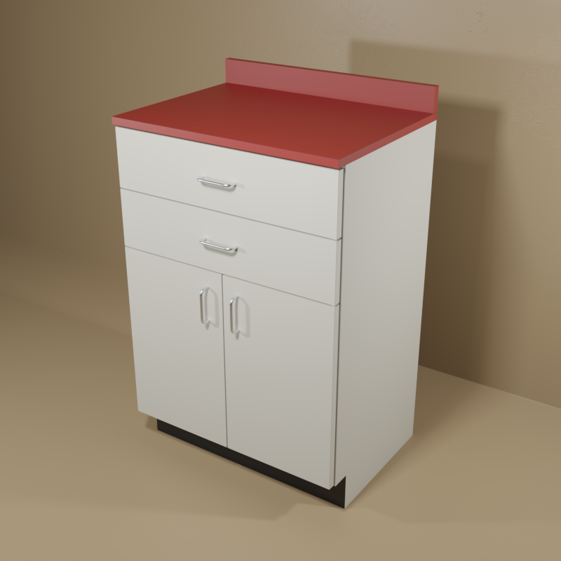 2 Drawer 2 Door Cabinet With Grey Base Red Top